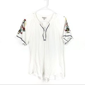 Lucky Brandy Floral Embroidered Sleeve Top Size L